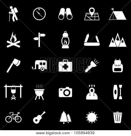 Trekking Icons On Black Background