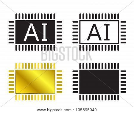 Ai System Icon And Cpu Symbo