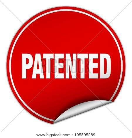 Patented Round Red Sticker Isolated On White