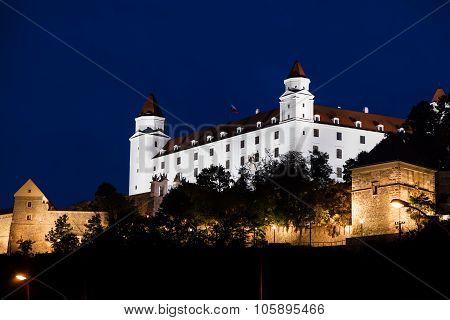 Illuminated Bratislava Castle In Night