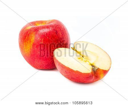 Apple red single and half isolated on white background