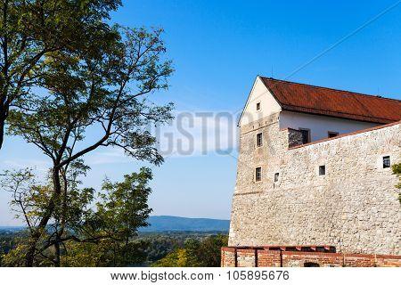 Bratislava Castle And View Of Hills Near Danube