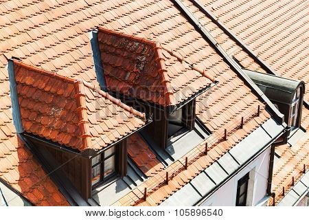 Tile On Roof Of Apartment House In Bratislava