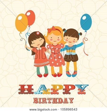 Happy birthday card with happy jumping kids