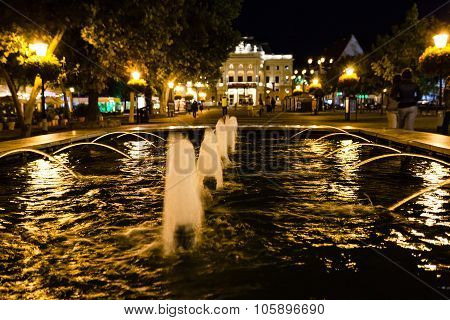 Fountain At Hviezdoslav Square Bratislava In Night
