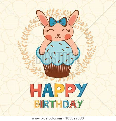 Stylish Happy birthday card with cute little rabbitgirl on a cupcake