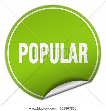 Popular Round Green Sticker Isolated On White
