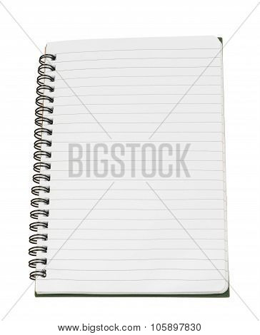Copybook with blank sheets on white