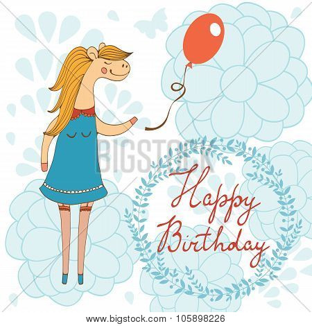 Adorable Happy birthday card with beautiful horse character holding balloon.
