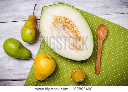 Melon With Honey And Green Yellow Pears