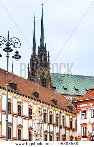 Column, Theather And Cathedral In Brno