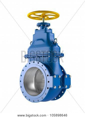High resolution 3D Industrial blue pipeline valve with on white background