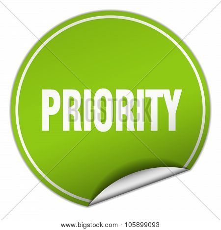 Priority Round Green Sticker Isolated On White