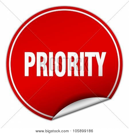 Priority Round Red Sticker Isolated On White