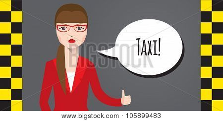 Vector modern flat design illustration of businesswoman wearing red suit calling taxicab.