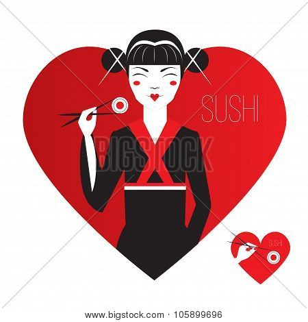 Cute Smiling Asian Girl Character on black kimono holding sushi with chopstiks. Logo in heart shape.