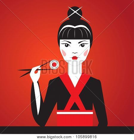 Close-up vector portrait of Oriantal femme fatale in a black kimono eating sushi.