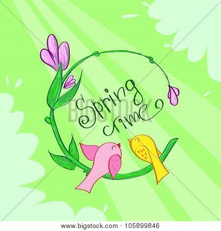 Spring Time Green Flower Banner Birds