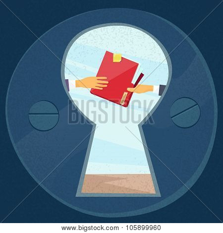 Hands Give Red Folder Secret Document Papers, Concept View Through Door Hole Businessmen Share Infor