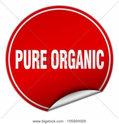 Pure Organic Round Red Sticker Isolated On White
