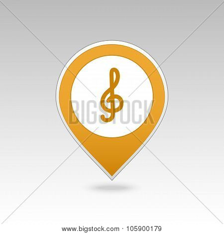 Treble clef pin map icon. Map pointer, markers.