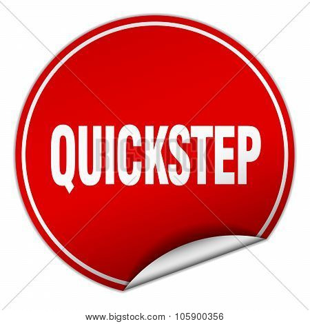 Quickstep Round Red Sticker Isolated On White