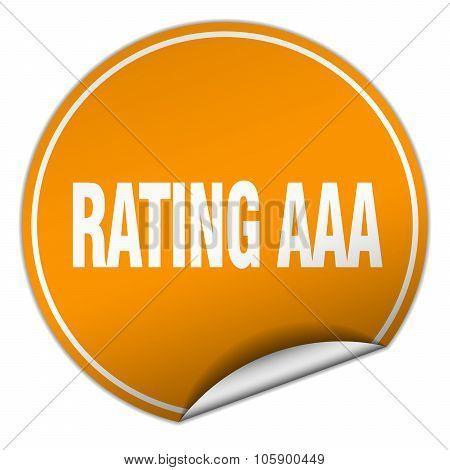 Rating Aaa Round Orange Sticker Isolated On White
