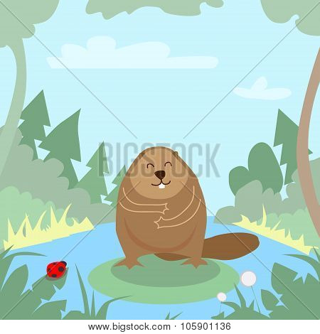 Cartoon Beaver Green Forest Colorful Flat Retro