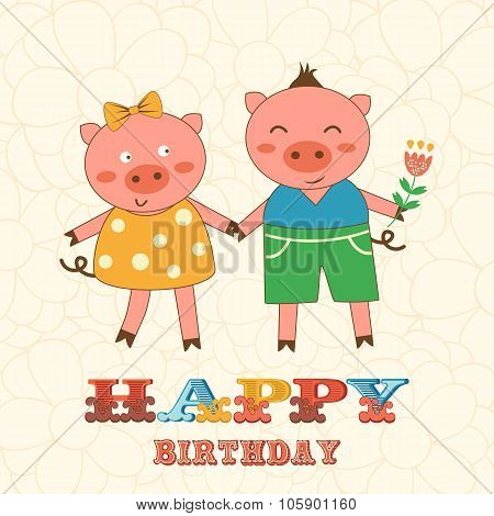 Stylish Happy birthday card with cute pigs couple.