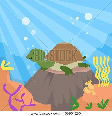 Cartoon Turtle Underwater Deep Ocean Bottom Coral Reef Colorful