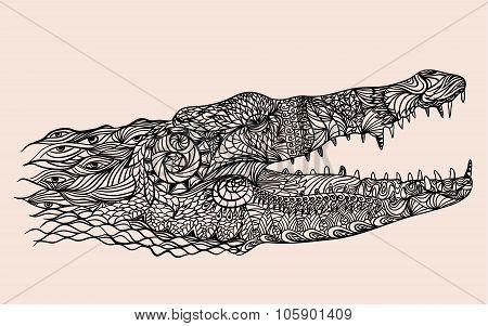 Zentangle stylized crocodile