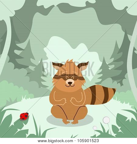 Cartoon Raccoon Green Forest Colorful