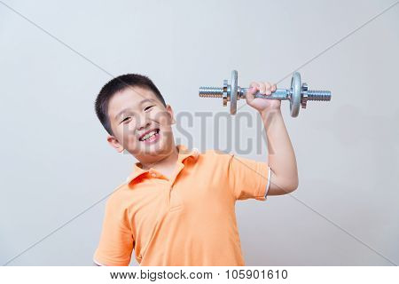 Asian Strong Boy Lifting Weights,