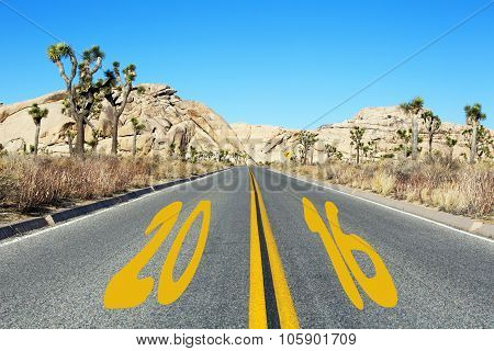 Road In The Desert With Number 2016
