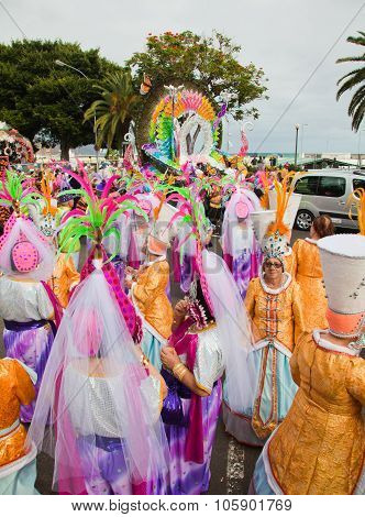 Santa Cruz, Spain - February 12: Paryicipants Prepare And Assemble For The Carnival Parade For One O