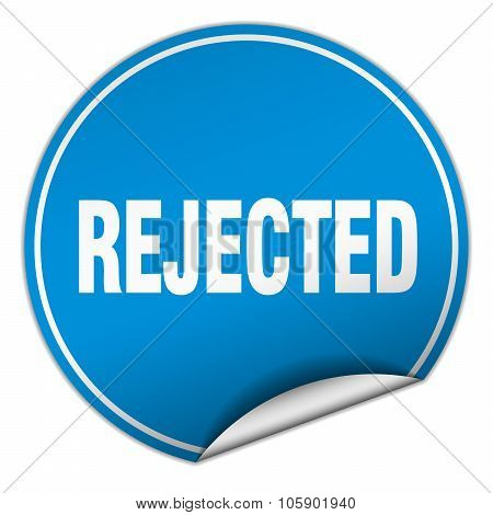 Rejected Round Blue Sticker Isolated On White