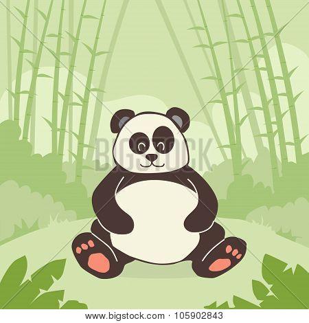 Cartoon Panda Bear Sitting Green Bamboo Jungle Forest Colorful