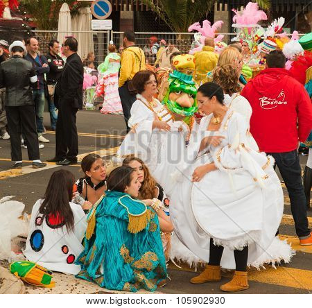 Santa Cruz, Spain - February 12: Participants Prepare And Assemble For The Carnival Parade For One O