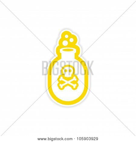 icon sticker realistic design on paper poison bottle
