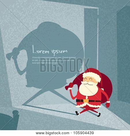Cartoon Santa Claus Happy New Year Merry Christmas Shadow Silhouette Open Door Retro Shape