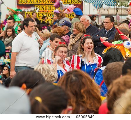 Santa Cruz, Spain - February 12: Dressed-up Audience And Parade Participants  For One Of The Most Im