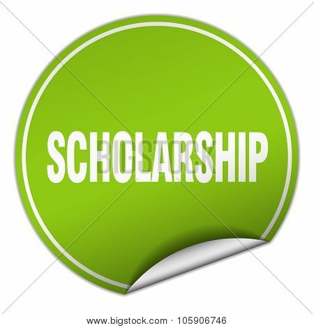 Scholarship Round Green Sticker Isolated On White