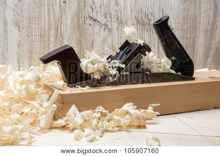 Jointer And Softwood Shavings On Boards