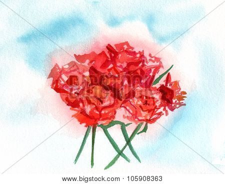 A watercolour drawing of a tea rose bouquet on a blue watercolour background