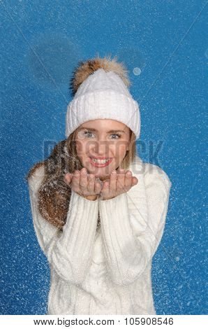Beautiful Woman In Upper Clothes With Snow