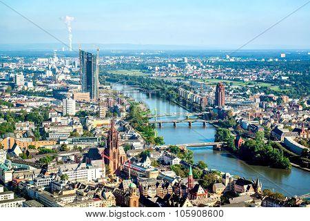 Aerial View Of Frankfurt Am Main City, Germany. Western Europe