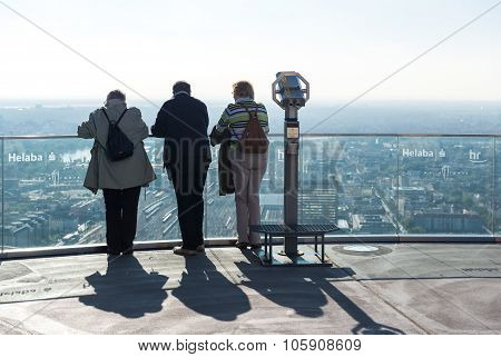 Frankfurt Am Main, Germany- September 24, 2013: Visitors Standing On The Main Tower Observation Deck