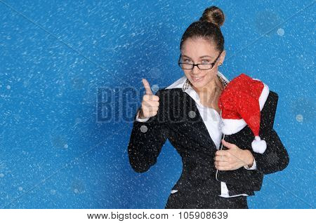 Business Woman With Laptop And Snow At Christmas