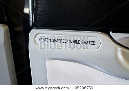 Fasten Seat Belt Sign Information On Airplane, Security, Emergency