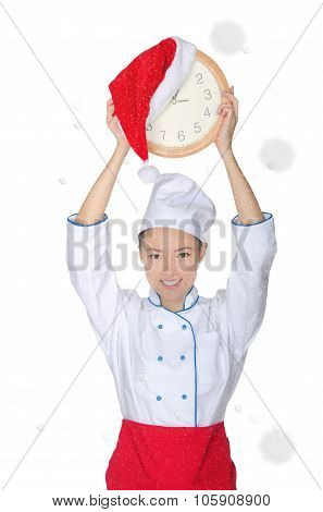 Happy Asian Chef With Clock And Christmas Hat